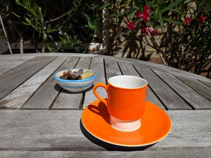 Pagnossin Special Production 701 Treviso Italy. Espresso kop en schotel oranje. 2