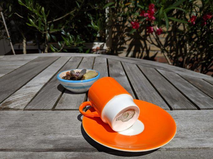 Pagnossin Special Production 701 Treviso Italy. Espresso kop en schotel oranje. 1