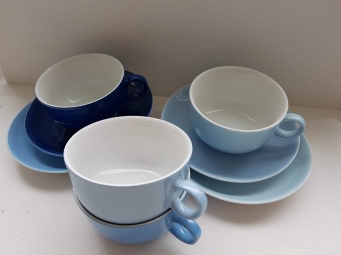 Arzberg Germany DE Theekopjes met schotel, porselein. Per set van 4 x kleuren blauw. 1