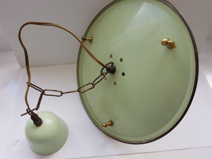 Philips?? Vintage hanglamp . Groen met gele rand met glazen kapje. 3