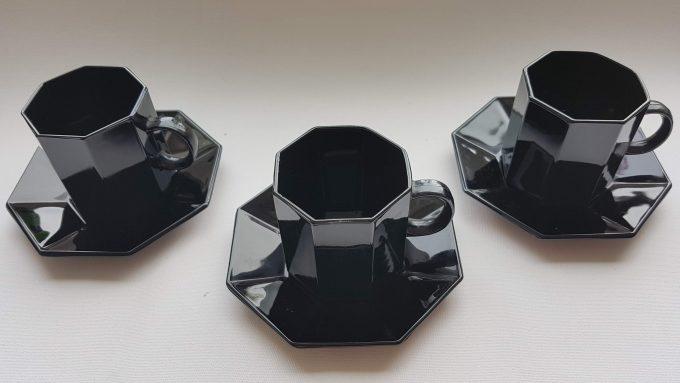 Arcoroc Octime France. Koffiekop en schotel zwart. Per stuk 2