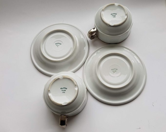 Pillivuyt France L782 en L793 France. Koffie kop en schotel wit met zilveren rand. Café au lait of Capuccino. Set van 2 3