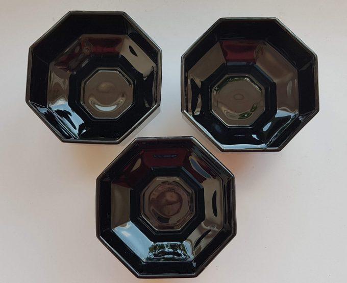 Arcopal Octime, Dessert schaaltjes op voet, zwart. Per set van 3 1