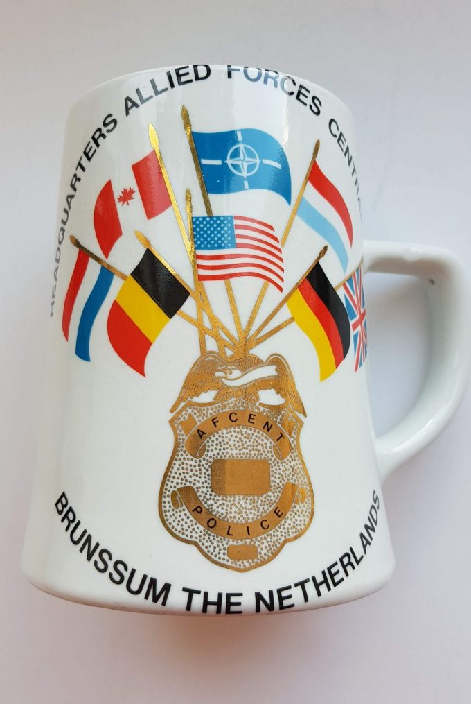 Royal Schwabap Made in Enter-Holland. Bierpul Brunssum the Netherlands. met opschrift Afcent Police Headquarters Allied Forces Central Europe. 2