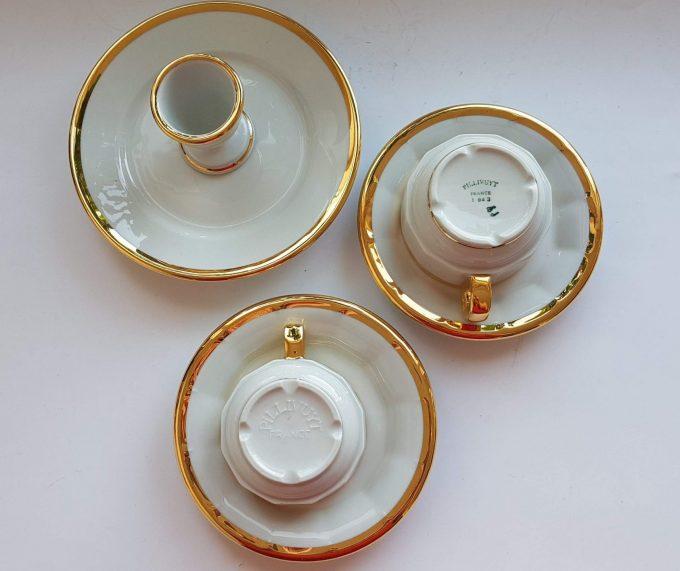 Pillivuyt France. Ontbijtset bestaand uit 4 delen. Wit met Gouden rand. Per stuk. 3