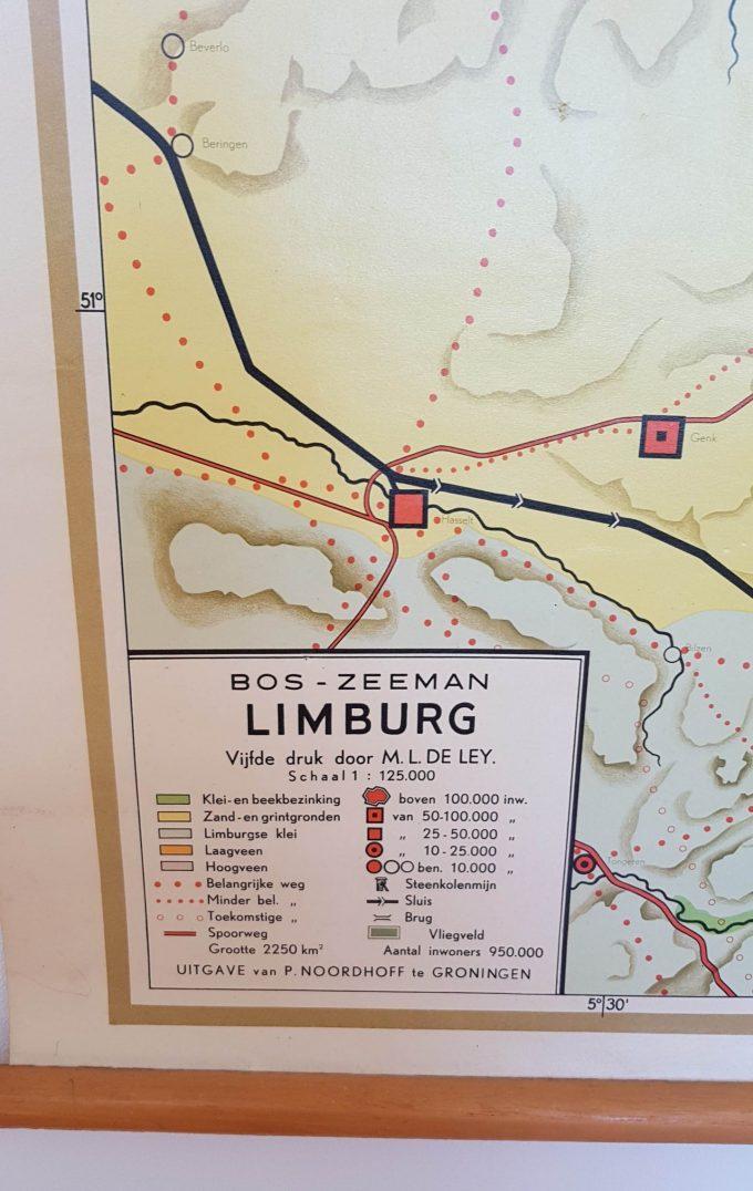 P. Noordhoff. Groningen. Wandkaart, Schoolkaart Limburg. Bos-Zeeman. 5e druk, M.L. de Ley. Formaat 75 x 115 cm. Met stokken en ophangkoord. 1