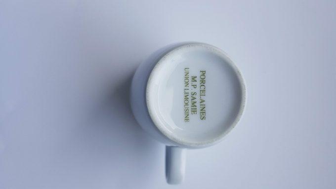 Porcelaines M.P. Samie. Union Limousine France. Espressokopje wit porselein. Met kenmerkend rond handvat. Per stuk. 4
