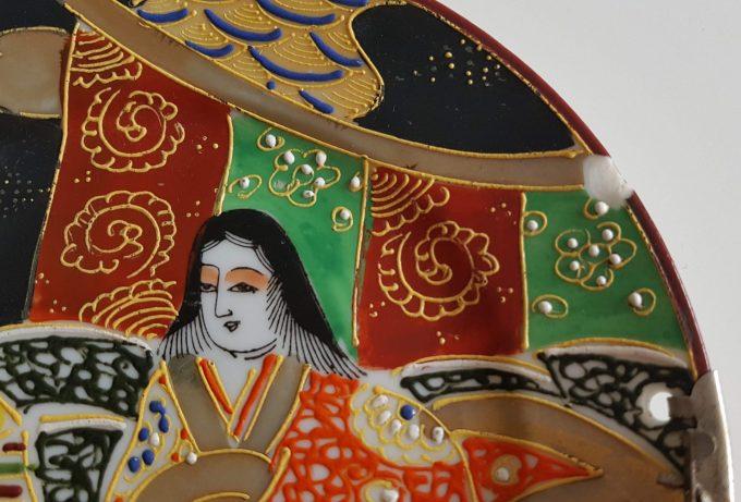 Made in Japan. Bonbonnière met Japans tafereel dame en heeer. Theeceremonie? 3