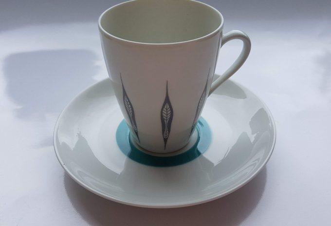 Mosa Maastricht 3111G. Koffie kop en schotel. Vier kleuren.  Per set van 4. 3