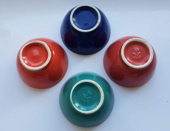 P Italy, Pagnossin.  Schaaltjes  /bowls 4 kleuren. Per set van 4 3