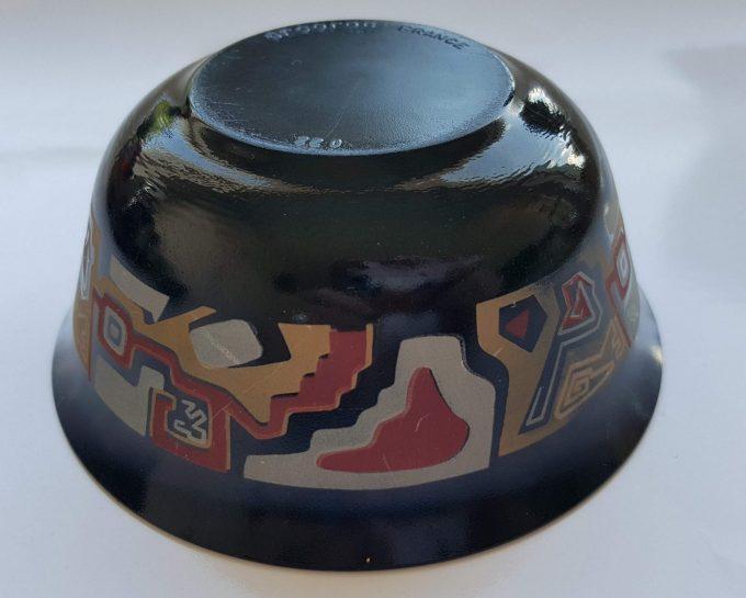 Arcoroc France. Schaaltjes zwart glas met abstract bandmorief. Per set van 5 3
