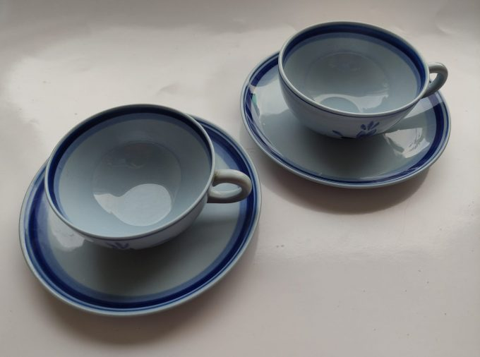 Petrus Regout & Co Maastricht. Made in Holland. Thee kop en schotel blauw met bloemmotief. . Handpainted B en D.  Per set van 2 2