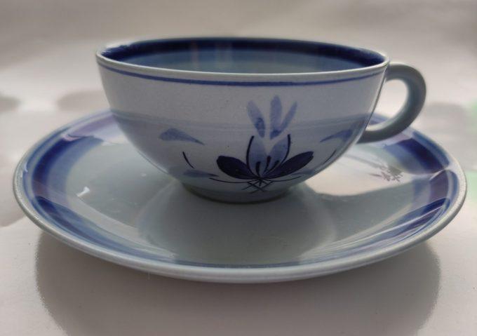 Petrus Regout & Co Maastricht. Made in Holland. Thee kop en schotel blauw met bloemmotief. . Handpainted B en D.  Per set van 2 1