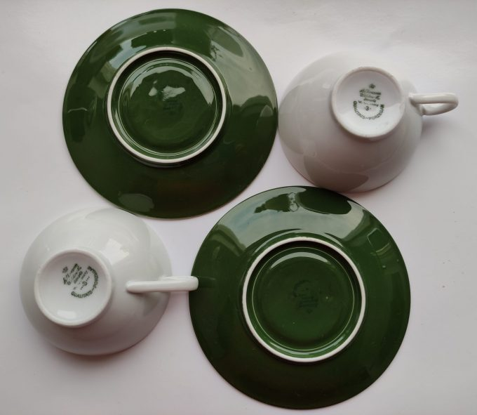 Seltmann Weide. W-Germany. Thee kop en schotel klein. Wit groen met schildpad afbeelding. Set van 2 3
