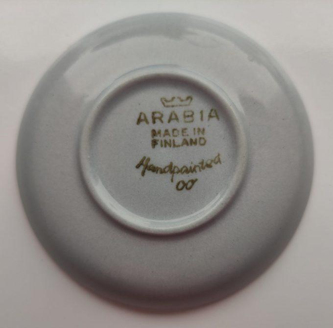 Arabia Made in Finland. Handpainted. Theetips met motief. Per stuk. 3