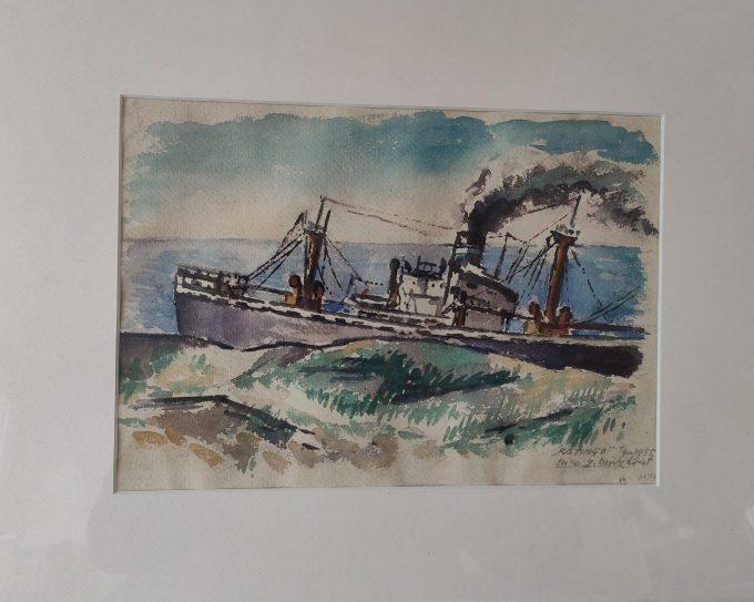 """Nico G. Berkhout. Aquarel Stranding schip """"Katingo"""" Egmond aan Zee 1955. 1"""