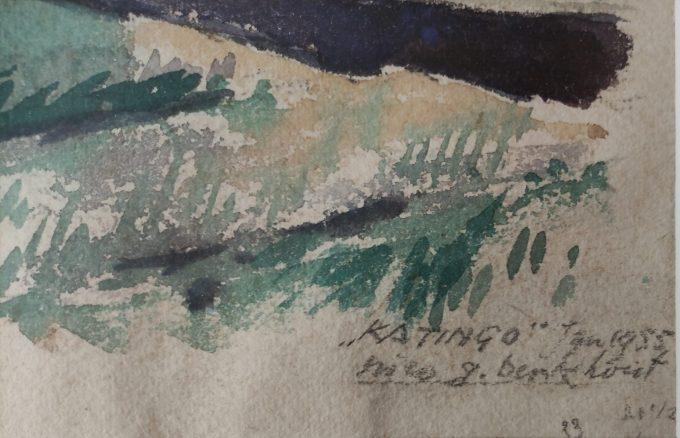 """Nico G. Berkhout. Aquarel Stranding schip """"Katingo"""" Egmond aan Zee 1955. 2"""