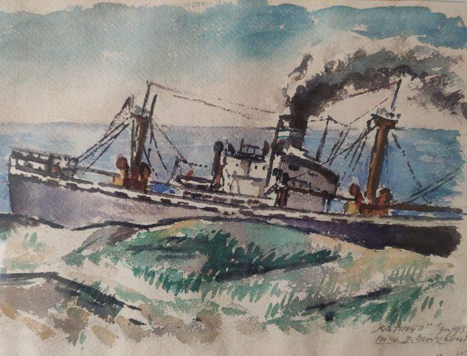 """Nico G. Berkhout. Aquarel Stranding schip """"Katingo"""" Egmond aan Zee 1955. 3"""