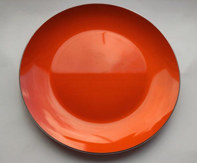 Emalox Norway. Design Bjørn Eng. Ontbijt Bordjes aluminium Oranje. Diameter 18.5 cm. . Per stuk. 2