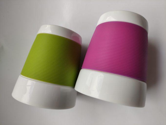 Bodum. Made in Switzerland. Pi-Design. Bekers wit/groen en wit/paars. Set van 2 2