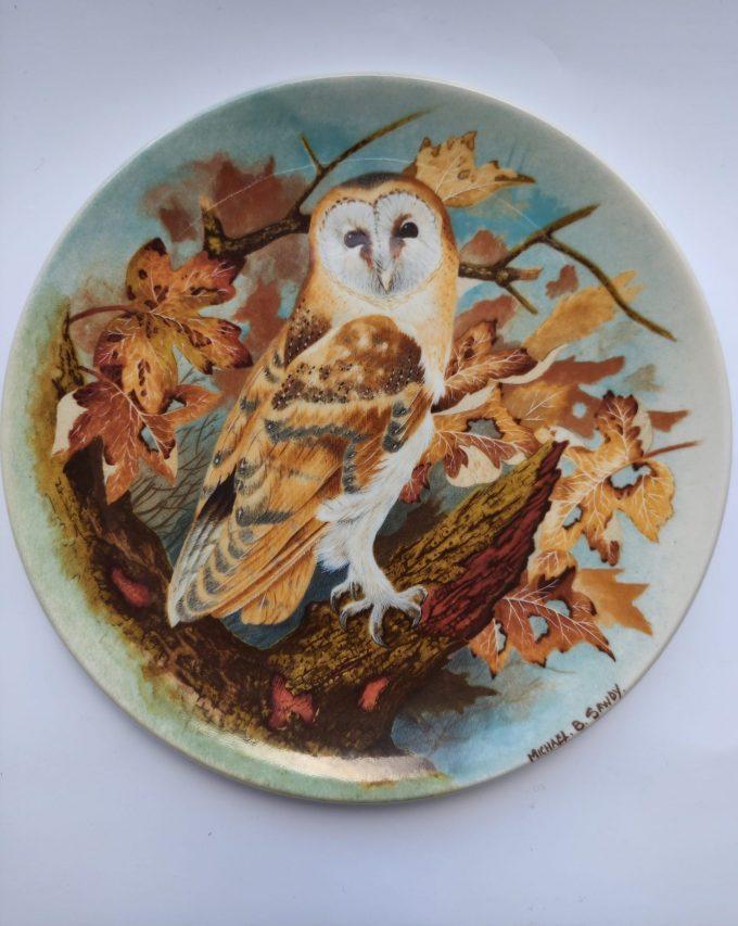 "Coalport. Made in England. Michael B. Sawdy. Wandbord / sierbord ""Barn Owl"". Plate Number 34690 / 1989. 1"