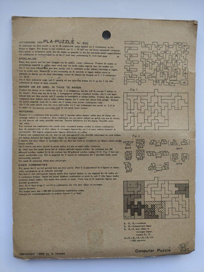 A. Yamada 1969. Beat The computer nr. 600 . PLA Puzzle. 11 x 19 cm. 35 stukjes. In originele verpakking. 3