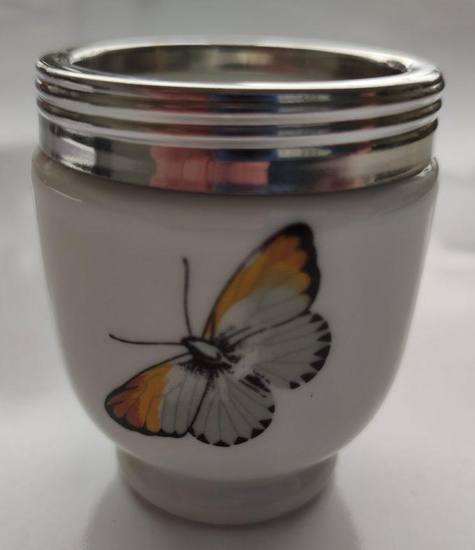Royal Worcester Porcelain. Made in England. Houder voor lepeltjes / coctailprikkers, tandenstokers...Vlinder en bloemmotief. 1