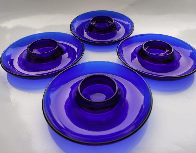 Vereco France. Kobalt blauw glas. Eierdopjes. Per stuk. 2