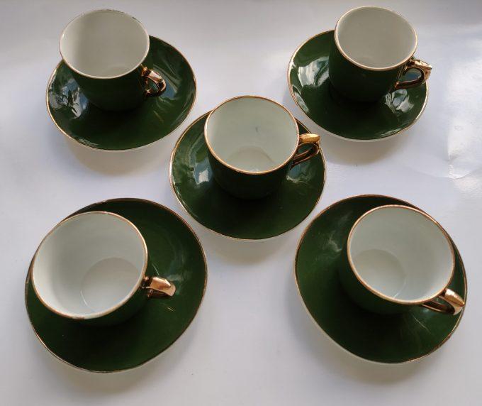 Koffie of Mokka of Kinder servies? Groen Wit met Gouden randen. 9 delige Set 7