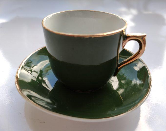 Koffie of Mokka of Kinder servies? Groen Wit met Gouden randen. 9 delige Set 6